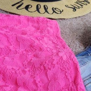 Tobi Tops - NWOT Neon pink lace crop top